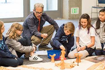 Docent teaching students