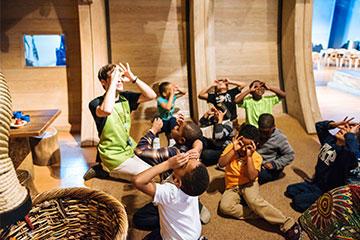 Children looking around Ark